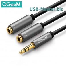 Аудио кабель Jack 3.5 ‒ 2x 3.5 AUX