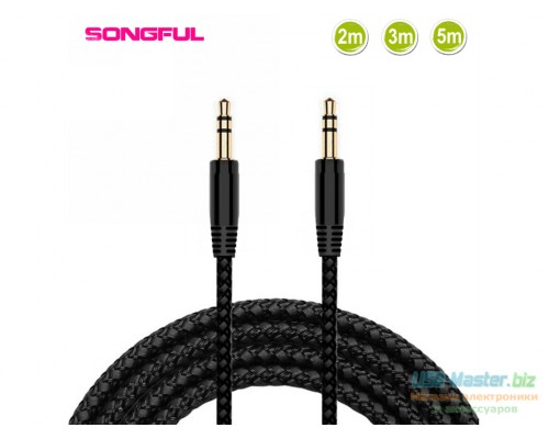 Аудио-кабель Jack 3.5mm (Male) - Jack 3.5mm (Male), 3Pin, Длина 3м