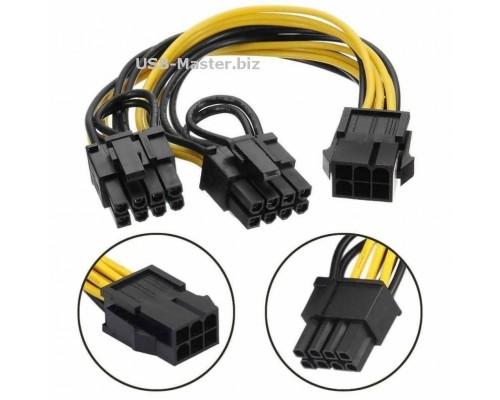 Кабель питания видеокарт PCI Express 6 Pin на 2 разъема по 8 Pin (6+2)