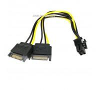 Кабель питания PCI-E 6Pin - 2 SATA 15Pin