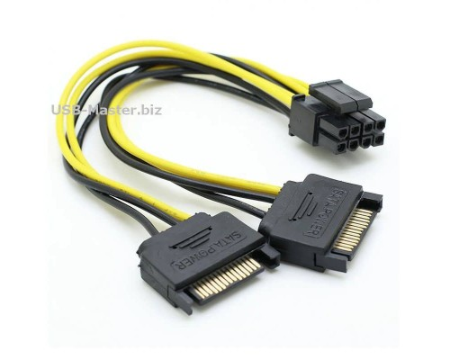 Кабель питания для видеокарт PCI-E 8Pin на 2 SATA 15Pin